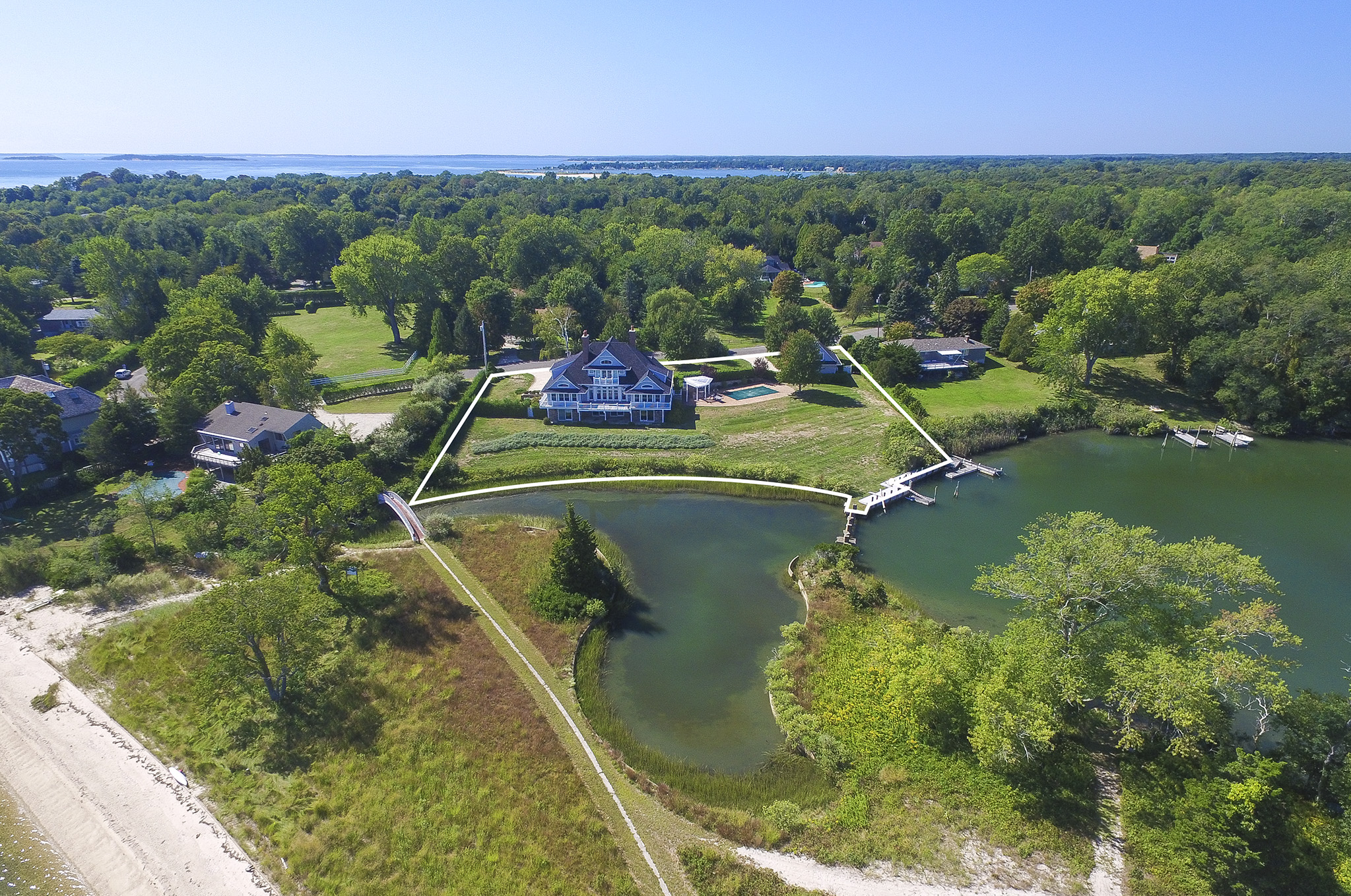 Single Family Home for Sale at Shelter Island Smith Cove Traditional With Dock And Pool 22 Merkel Lane, Shelter Island, New York